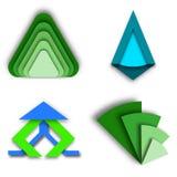 绿色和蓝色三角现代商标的汇集 图库摄影