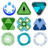 绿色和蓝色三角现代商标的汇集 库存例证