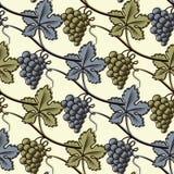绿色和蓝色葡萄的无缝的样式 免版税库存图片