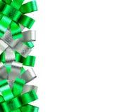 绿色和银色丝带框架 免版税库存照片