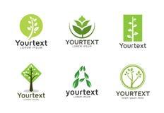 绿色商标的汇集或象设计 库存例证