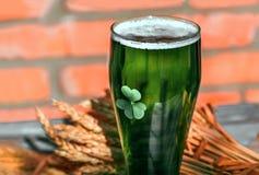绿色啤酒和三叶草在玻璃 库存照片