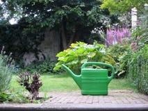 绿色喷壶在有开花的一个庭院在summ开花 免版税库存照片