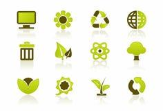 绿色图标个人计算机集 免版税库存图片