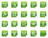 绿色图标互联网系列贴纸万维网 库存图片