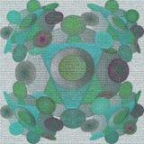 绿色圈子坛场,灰色纹理,在绿松石的圈子,绿色紫色,两个三角在中环中心中以轻的绿色 库存例证