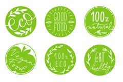 绿色圈子标签的汇集与手拉的字法的关于健康eco食物,素食主义者 设置健康生活方式贴纸与 免版税库存图片