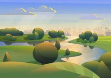 绿色土地五颜六色的设计有河的工业城市背景的在与影片噪声作用的蓝天下 免版税库存照片