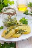 绿色土豆辣调味汁 库存图片