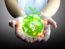 绿色地球在手中 免版税库存照片