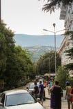 绿色城市街道 免版税库存图片