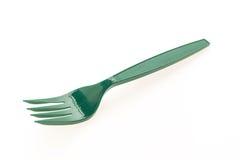 绿色塑料叉子 免版税库存照片