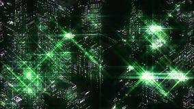 绿色夜城市抽象夜场面  Loopable 皇族释放例证