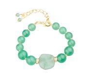 绿色宝石bracele 库存图片