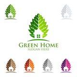 绿色家庭商标,房地产传染媒介与议院的商标设计和生态塑造 免版税库存图片