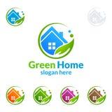 绿色家庭商标,房地产传染媒介与议院的商标设计,叶子和生态塑造 免版税图库摄影