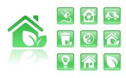 绿色家庭图标 免版税库存图片