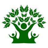 绿色家庭自然树,队标志 向量例证