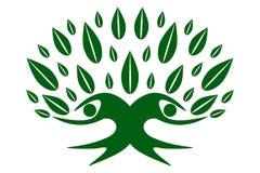 绿色家庭自然树,队标志 皇族释放例证