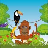 绿色密林和猿用香蕉 也corel凹道例证向量 库存例证