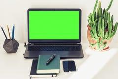 绿色屏幕膝上型计算机、仙人掌植物泥罐的,书、笔记本、智能手机和铅笔在白色桌,教育办公室概念上 库存图片