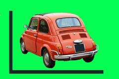 绿色屏幕,美丽的菲亚特500个第一个模型,是非常成功的在意大利在岁月60/70附近 免版税库存照片