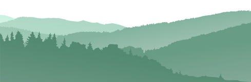 绿色山剪影 抽象背景 库存图片