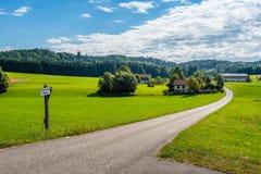 绿色山谷风景看法在奥地利阿尔卑斯 库存图片