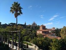 绿色巴塞罗那观点的帕劳Nacional 免版税库存照片