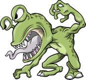 绿色平均妖怪向量 免版税库存图片