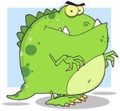 绿色恐龙漫画人物 免版税图库摄影