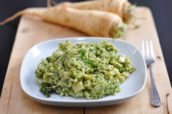 绿色意大利煨饭 库存图片