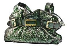 绿色手袋皮革 库存照片