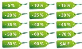 绿色折扣销售标号组 向量例证