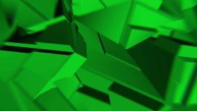 绿色抽象多角形打破的形状动摇无缝的圈 3D动画 皇族释放例证