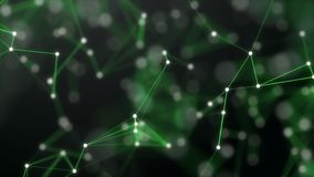 绿色抽象技术和黑背景与结节元素和景深设置 3d翻译 有效地 皇族释放例证