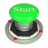绿色按钮,起始时间, 3d查出的概念 免版税库存照片