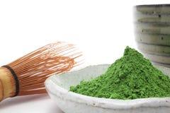 绿色搽粉的茶 免版税库存照片