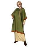 绿色撒克逊人的长袍北欧海盗妇女 库存图片