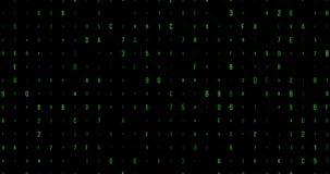 绿色数字和信件数字式代码流动,计算机生成无缝圈摘要行动背景,黑客和新 皇族释放例证