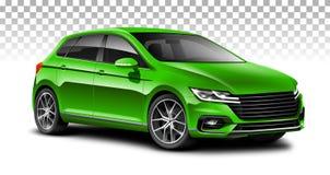 绿色斜背式的汽车普通汽车 有光滑的表面的城市汽车在白色背景 免版税库存照片