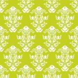 绿色无缝的向量墙纸白色 免版税库存照片
