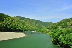 绿色日本河 免版税库存图片