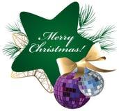 绿色星、圣诞装饰和杉木分支 皇族释放例证