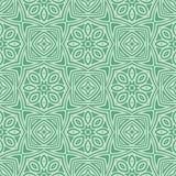 绿色星开花无缝的样式背景例证 向量例证