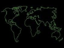 绿色映射晚上世界 免版税库存照片