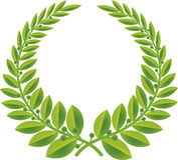 绿色月桂树向量花圈 免版税库存照片