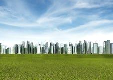 绿色未来派城市 免版税库存图片