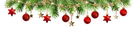 绿色杉木枝杈、球和诗歌选圣诞节上面边界的 库存图片