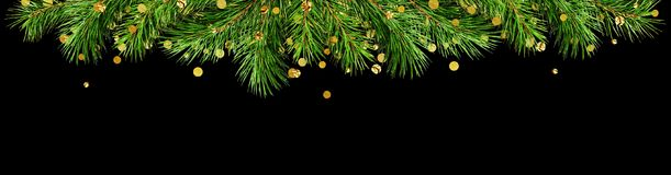 绿色杉木枝杈和金黄五彩纸屑圣诞节的冠上边界 免版税库存图片